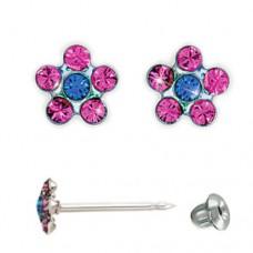 Серьги Inverness 804 Flower Rose/Sapphire